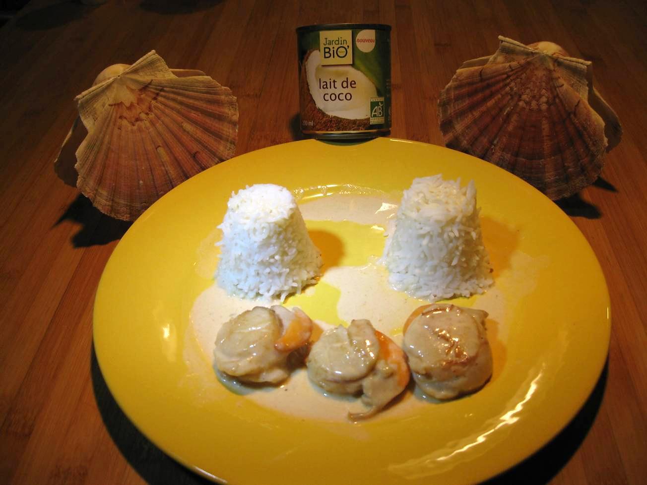 Coquilles Saint-Jacques au lait de coco et riz basmati