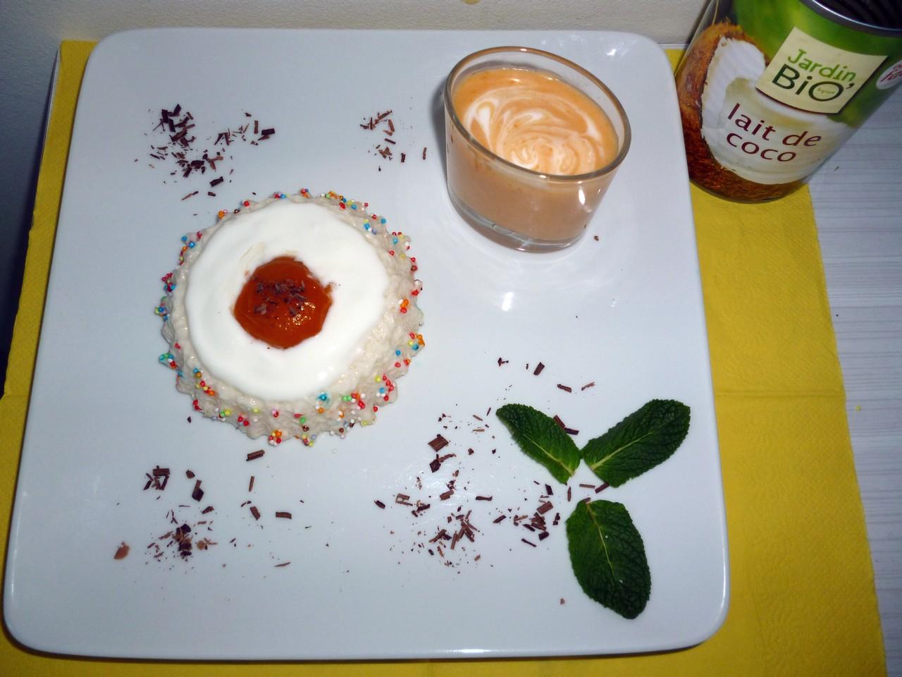 Gâteau de riz coco et milk-shake abricot