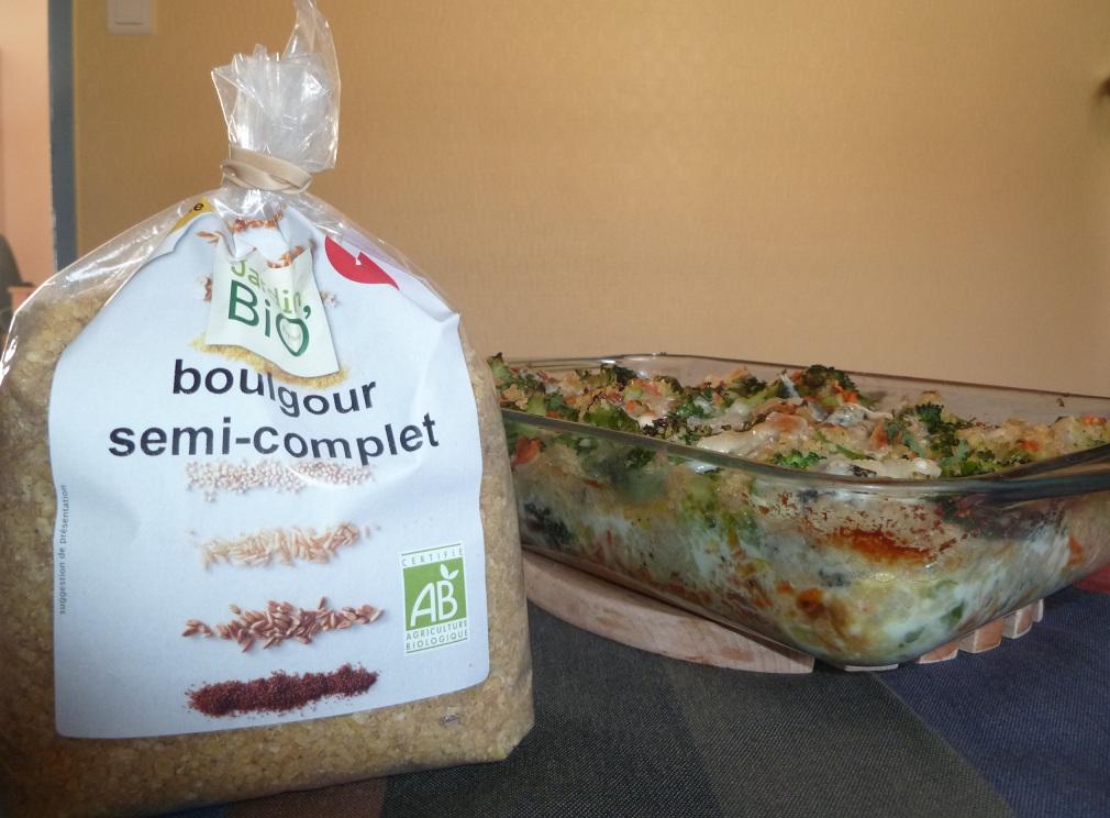 Gratin de Boulgour brocolis carottes
