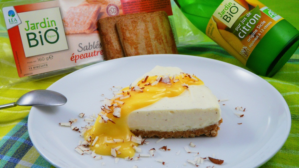 Cheesecake à l'amande amère, lemon curd