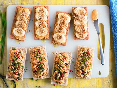Duo de tartines sans gluten et sans lactose – salé & sucré