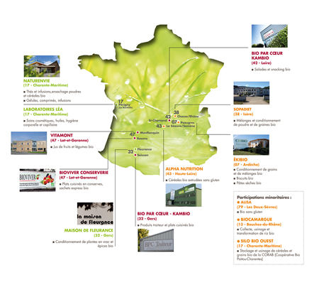 Carte sites de productions