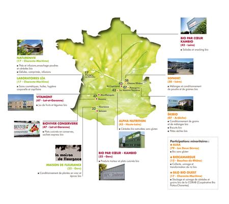 carte des sites de productions Léa Nature