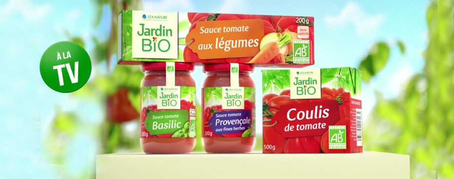 Sauces tomates Jardin BiO en pub TV