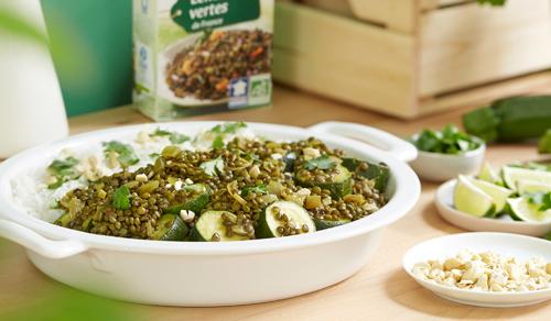Curry végétarien de lentilles vertes aux courgettes