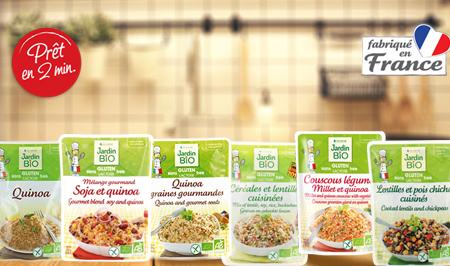 Selection de sachets repas aux cereales et melanges sans gluten Jardin BiO