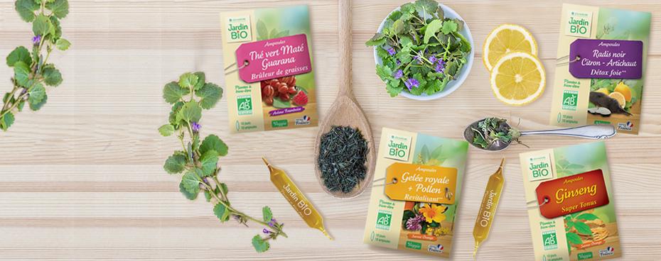 Ampoules aux plantes bio de la gamme plantes et superfoods | Jardin BiO