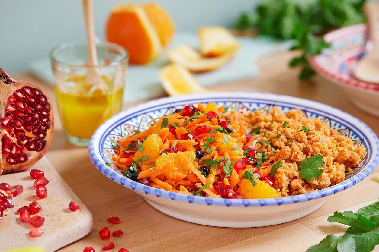 (Français) Salade de couscous aux légumes du soleil et crudités