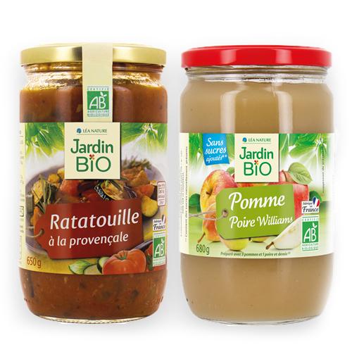 image produit ratatouille à la provençale et compote pomme poire Williams jardin bio