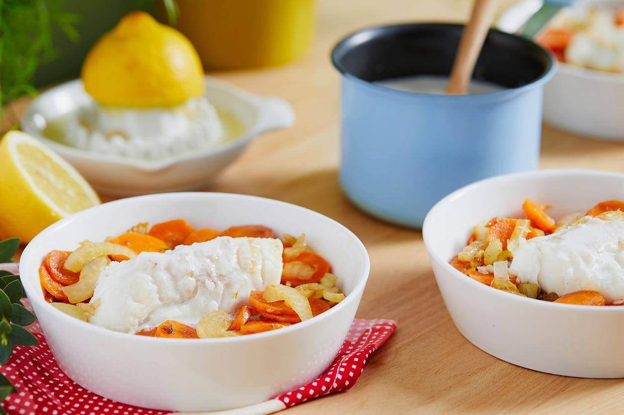[:fr]Dos de lieu noir poêlé au fenouil et carotte et sauce coco citron[:]
