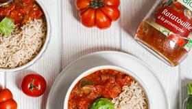 jardin bio bloc page accueil avec riz et sauce jardin bio ratatouille à la provençale avec des tomates
