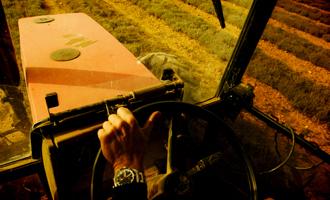 agriculteur thym dans son tracteur