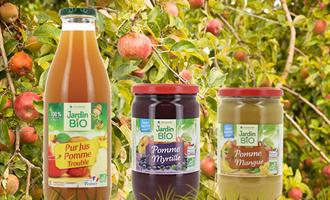 Produits avec pomme cultivé par agriculteur Jardin BiO étic pur jus de pomme, confiture pomme mangue et pomme myrtille