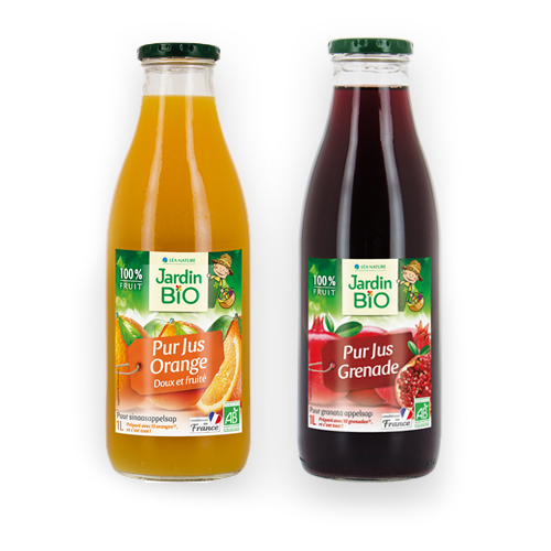 image produit jardin bio pur jus orange doux et fruité et produit pur jus de grenade