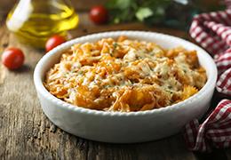 Image recette gratin pâtes lardons sauce tomate Jardin Bio