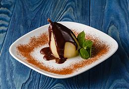 Image d'une poire Belle Hélène chocolat Jardin BiO étic