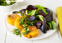 repas végétarien recette Jardin BiO étic galette gourmande et gremola persil sans gluten